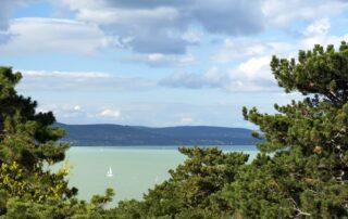 The view on the lake Balaton from the town of Balatonboglar