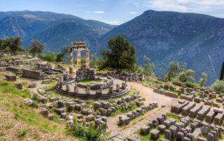 The sanctuary of Athena Pronaia in Delphi in Central Greece