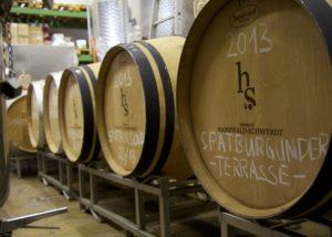 Barrels in the cellar at Weingut Hanewald-Schwerdt in Pfalz