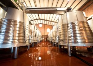 de las encomiendas modern laboratory with many steel tanks for wine fermentation