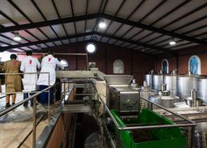 de las encomiendas winemakers working in the laboratory inside winery