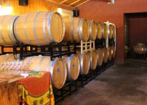 barrels inside Westbrook Wine Farm winery cellar