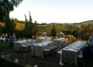 Tables prepared for an event at the Azienda Agricola Zaccagnini