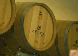 Oak barrels in the cellar at Valle De La Puerta