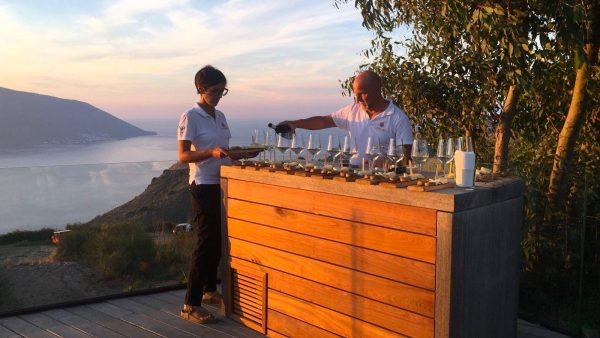 wine tasting of two people at Tenuta Di Castellaro winery in Italy