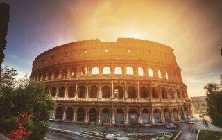 Sunset at Colosseum in Rome in Wine region Lazio in Italy