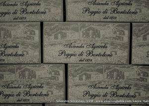 Wine bottle packaging at the amazing italian Poggio Di Bortolone winery.