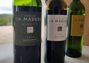 A range of three bottles of wine at Domaine La Madura