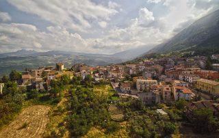 Houses in town in Abruzzo wine region in Italy