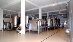 modern laboratory with steel tanks in the poggio di bortolone winery.