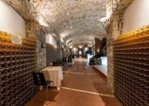Tallarini winery cellar full of old bottles of wine in Italy