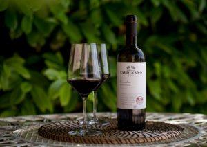 two glasses of red wine and bottle made in Tenuta di Tavignano