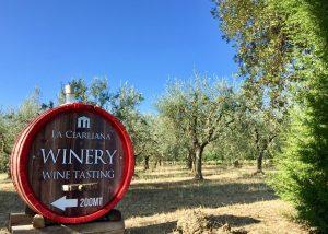 Wine barrel sign in beautiful La Ciarliana winery in lovely Italy.