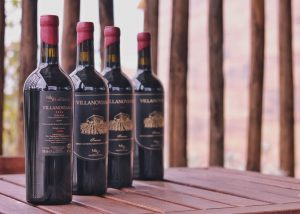 Four bottles of amazing wine from unique Villanoviana winery.