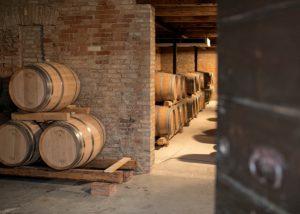 Tenuta di Tavignano winery cellar with barrels inside in Italy