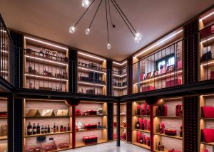 An amazing wine store in the magical Cipresso winery in Italy.