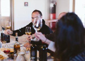 Tasting excellent wines at the wonderful Giuseppe Sedilesu winery.