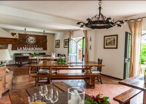 incredible wine and food tasting room at the Poedera La Marronaia winery.