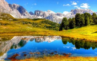 Mountain lake in Trentino-Alto Adige wine region in Italy