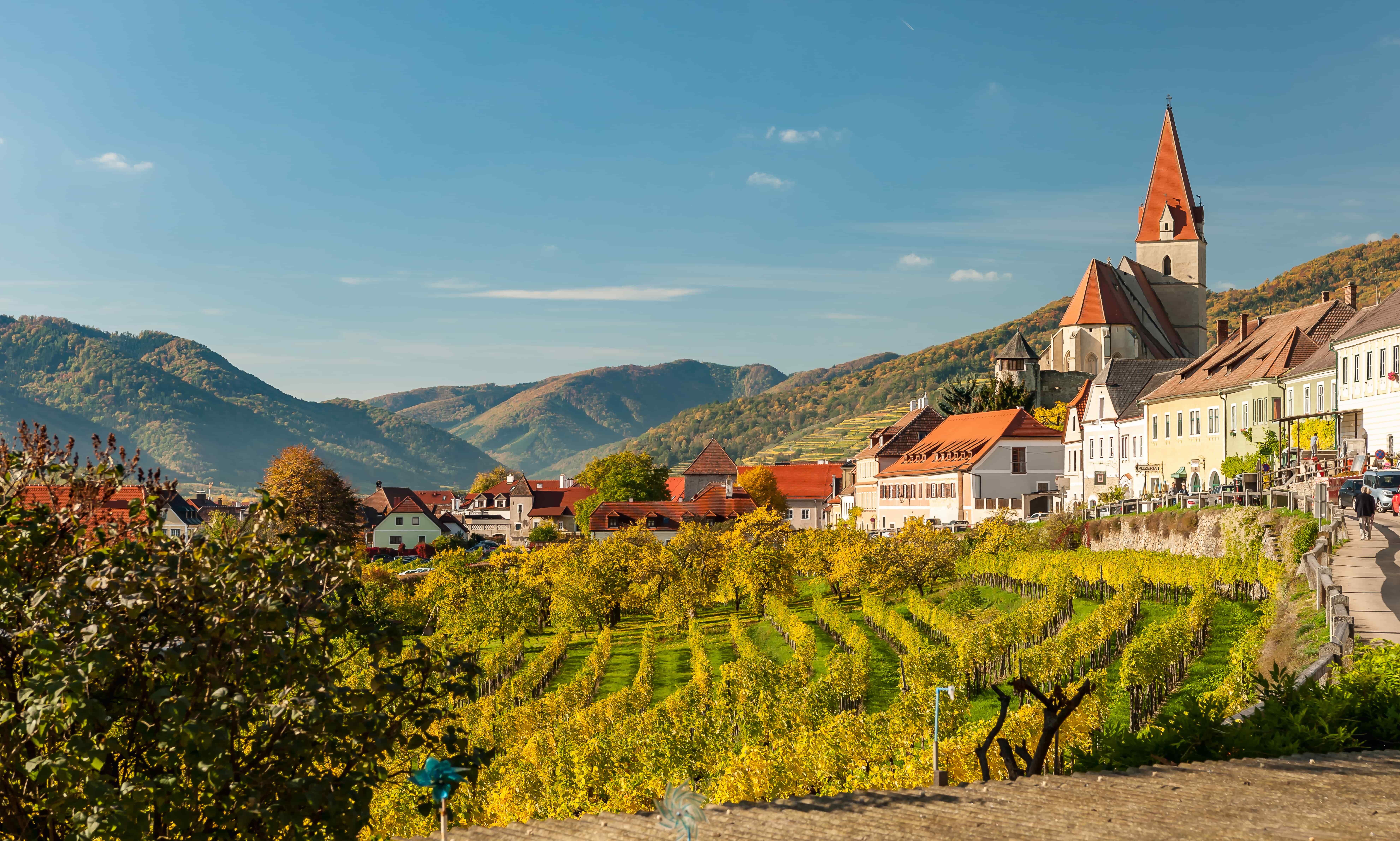 The town of Weissenkirchen in der Wachau in the Lower Austria region