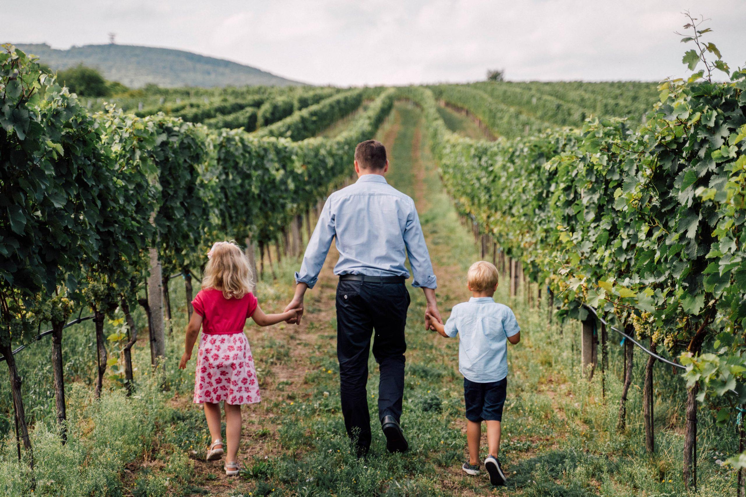 Weingut Alphart - children in the vineyard