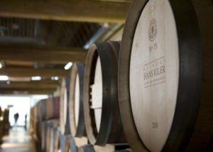 The oak barrels in the cellar of the Weingut Hans Igler