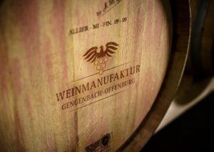 An oak barrel in the cellar of the Weinmanufaktur Gengenbach-Offenburg