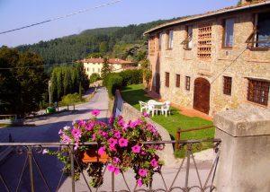View of courtyard and stone estate of the winery Fattoria di Petrognano.