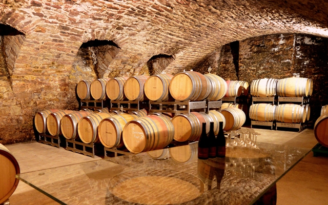 weingut alte grafschaft old wine cellar wuth many wooden barrels for wine aging