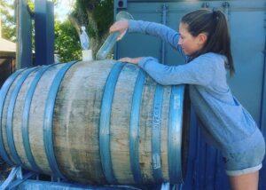 aurum wines winemaker near wooden barrel for wine aging in new zealand