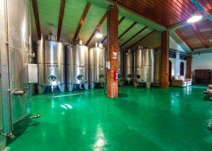Villa Cilnia winemaking process with tanks inside