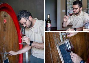 Tasting wine from a wooden barrel in the winery Fattoria di Montemaggio.
