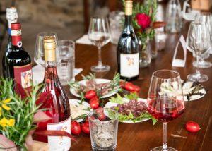 A fine table for wine and food tasting at the Fattoria di Montemaggio winery.