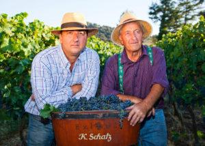 Bodega F. Schatz winery owners at vineyard in Spain