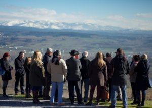 bodegas godelia many visitors near winery during wine tour