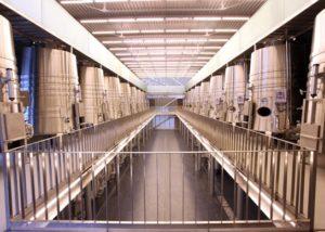 bodegas valdemar modern laboratory with huge steel tanks for wine production