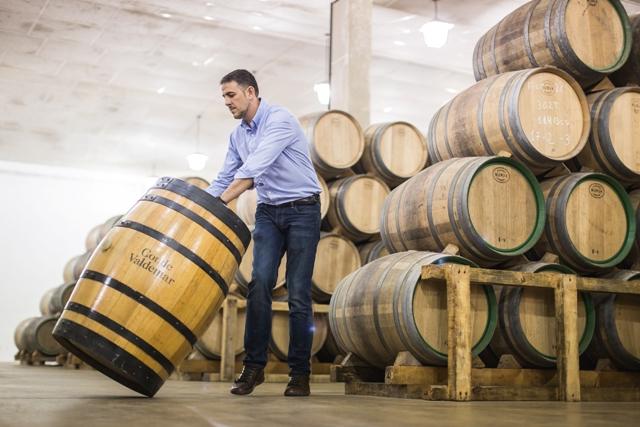 bodegas valdemar three winemakers on vineyards near winery in spain