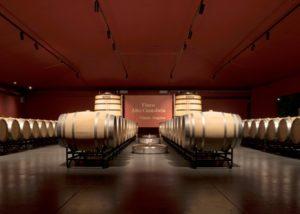 bodegas valdemar many wooden barrels for wine aging inside cellar