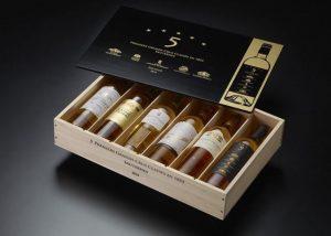 A box of white wines at Château de Rayne Vigneau