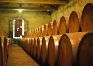 Several barrels in the cellar at Château Lesparre