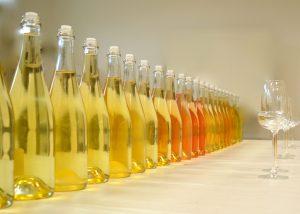 The range of bottles at Domaine Delong in Champagne region