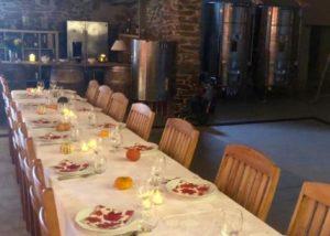 domaine-de-la-senche-dinner in the cellar