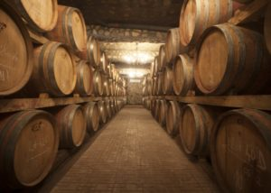 domeniile sahateni many large wooden barrels for wine aging