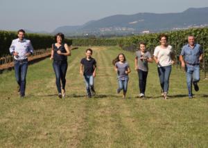 doppler-hertel winemakers family stroll through lush vineyards near winery