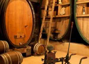 The barrels in the cellar at Domaine Eblin-Fuchs