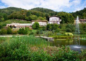 Estate of the Tallarini winery and lake near it