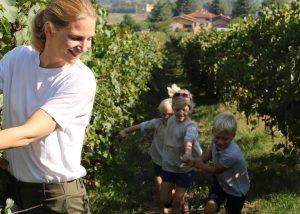 Roncolo 1888 Venturini Baldini owner walking around vineyard in Italy