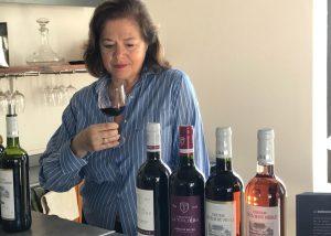 Tasting a a range of wine at Château La Tuilière