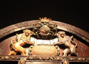 fuerst hohenlohe unique coat of arms on door visor in the estate