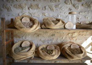 Bags of spices at Château de la Dauphine in Bordeaux
